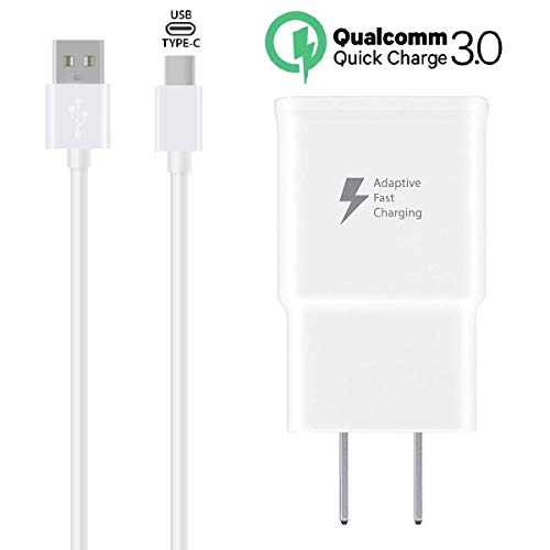 S9+ S9 S8+ Note 9 and More White Adaptive Fast Wall Charger Adapter with USB Type C Cable Compatible Samsung Galaxy S10 Active//Note 8 S8 S10+
